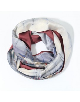 Silk infinity scarf - Sailboats on Lake Geneva